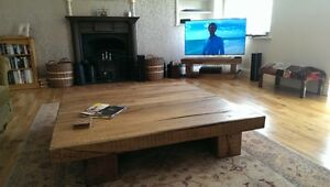 HANDMADE LARGE SQUARE CHUNKY SOLID RUSTIC NATURAL WOOD OAK COFFEE TABLE - LOUNGE