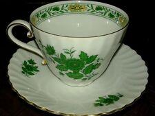 Vintage Kaiser Schonbrunn Tea/Coffee Cup & Saucer - Green Floral & Gold Trim