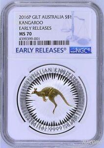 2016 P Australia GILDED Silver Kangaroo NGC MS 70 1 oz Coin w/OGP gilt ER LABEL