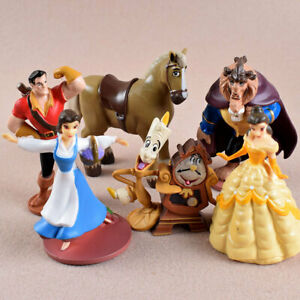 1 Set 6 Beauty & Beast Princess Belle Figure Figures Figurine Ornament Toy 11cm
