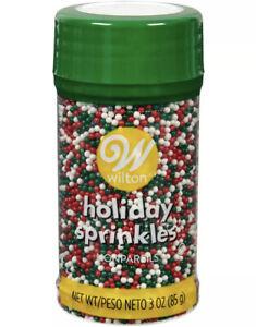 wilton holiday sprinkles non pareils red white green 3.0 oz xmas cookie decor