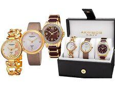 NEW Akribos XXIV AK887YG Women's Diamond Gold 3-Watch Set AK889 AK890YG AK891YG