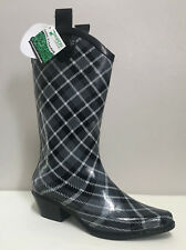 Dav Western Grey Cowboy Plaid Slate Rainboots Wellingtons Size 3/36