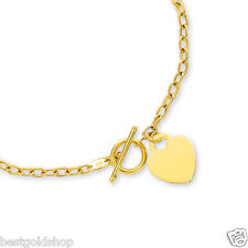"17"" Engravable Heart Tag Oval Chain Charm Necklace 14K Yellow Gold Toggle Clasp"