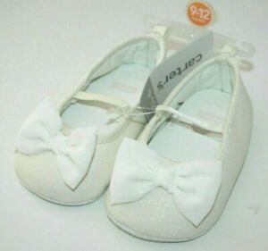 Carter's Baby White bow Wedding Sparkle Glitter Crib Shoes 9-12 Months New NWT