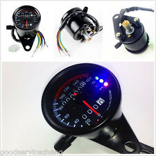 Dual Odometer Motorcycle LED Backlight KMH Speedometer Gauge Signal Universal