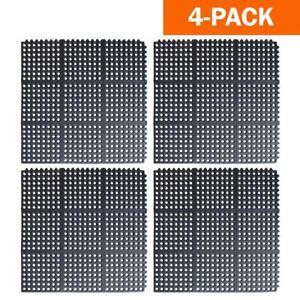 "Buffalo Tools Anti Fatigue Mat Bar Rubber Interlocking Floor Mats 36"" x 36"" 4Pk"