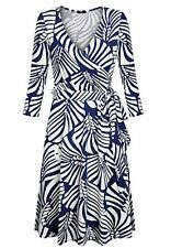 Women Long Sleeve Long Dress With Lace Up Slim Waist V-Neck Printed Dresses MY