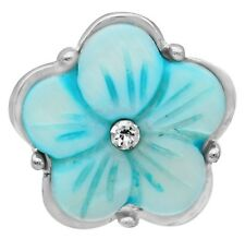 Silver Blue Rhinestone Shell Flower 20mm Snap Button Charm For Ginger Snaps