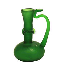 Roman Green Glass Vase Ruffled Stem Bud Vase