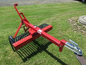 4ft 120cm TOW BEHIND STICK RAKE LAND RAKE ATV QUAD BIKE LAWN MOWER
