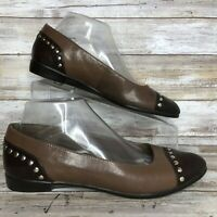 Aerosoles 8M Know It All Cap Toe Studded Loafer Flats Brown Leather Womens