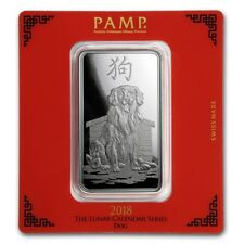 Lingot Suisse PAMP Chien 100g argent pur 999 / PAMP DOG 100G Fine Silver Bar 999