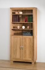 Bevel Large Oak Bookcase & Cupboard / Solid Oak Cabinet /Book Shelf / 40cm Deep