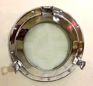 "Maritime Silver 15"" Porthole Round Window Glass Nautical Boat Ship Home Decor"