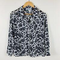 Leesa Fashions Sydney Womens Blouse Size 16 Vintage Black White Long Sleeve