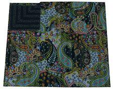 Black Paisley Queen Kantha Quilt Bedspread Blanket Cotton Throw Handmade Ralli