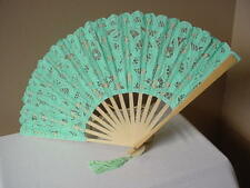 LACE FAN GREEN VICTORIAN TEA LADIES CIVIL WAR WEDDING PROM BATTENBURG CAS SASS