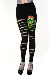 Lost Queen Goth Zombie Cut up Cut Out Ripped Look Slashed Zombie Legging