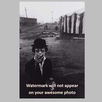 Scary Vintage Creepy Clown Smoking PHOTO Circus Freak Halloween Mask Costume