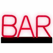 Portable Red Neon Bar Sign Illuminated LED Letter Home Desk Light Acessories