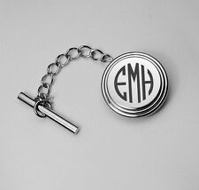 PERSONALIZED SILVER BEVELED STAINLESS STEEL TIE PIN TACK CUSTOM ENGRAVED FREE