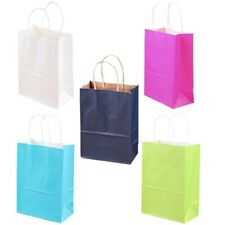 Kraft Paper Bag Colorful Party Gift Handbag Solid Bottoms Shopping Goodie Bags