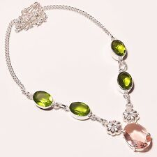 "Lovely ! Pink Topaz Peridot Quartz Silver Plated Handmade Necklace 17""-18""N-1217"