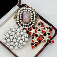 3X Vintage Style Diamante Brooches Pins - Pink Fire Opal Pearl Red & Green Star
