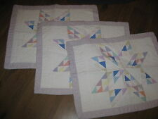 ARCH SET 3  COUNTRY LOG CABIN PASTEL TEXAS STAR PATCHWORK QUILT PILLOW SHAMS