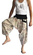 Thai fisherman pants Yoga Harem Off-White Samurai pants cotton Thai Bamboo pants