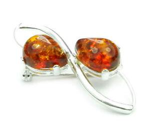 925 Sterling Silver & Baltic Amber Jewellery - Brooch 4067