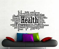 Health Word Cloud Wall Decal Fitness Gym Vinyl Sticker Home Art Decor Mural 90gy
