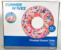 "Summer Waves Inflatable Frosted Donut Tube Pool Float New In Box 45"" In Diameter"