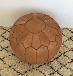 Moroccan Hand Leather pouf, brown