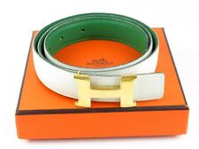 Auth Hermes Constance Goldtone H Buckle White Green Leather Belt +Box Size 75 30