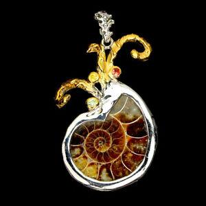 Handmade Shell Shape Ammonite Fossil 7ct Sapphire 925 Silver Squid Big Pendant