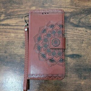 Leather Brown Wrist Strap Phone And Credit Card Purse