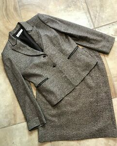 Tahari women 12 Brown Tweed Button Front Blazer & Knee Length Pencil Skirt Suit