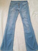 Hudson Jeans Flare Long Low Rise Stretch Light Wash Flap Pockets Size 26