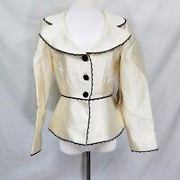 Womens Blazer Bergamo by EBI Size 6 Ivory w Black Lace Lined A1P