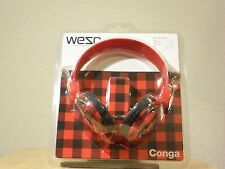 WESC RED CONGA HEADPHONES DJ STYLE MP3 IPOD IPHONE JL *NEW IN PACKAGE*