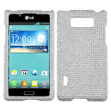 LG Optimus Showtime Crystal Diamond BLING Hard Case Phone Cover Silver