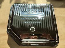 Chrome Chevy Gm Turbo 350 Finned Transmission Oil Pan W Drain Plug Stock Depth