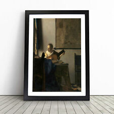 More details for young woman with a lute by johannes vermeer wall art framed print picture