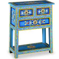 vidaXL Solid Mango Wood Sideboard With Drawers Turquoise Hand Painted Cupboard