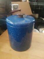Ransburg Enamel Ware Blue White Speckle Splatter Camping Kitchen Canister VTG