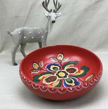"""Norwegian Rosemaling Wood Bowl 7.5"""" Vintage Norway Folk Art Painting Flowers Red"""