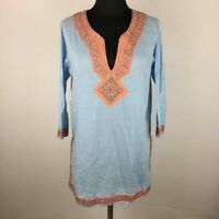 Gretchen Scott Womens M Striped Tunic Top Embroidered Accents Slit Sides Cotton