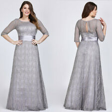 e24c5db18142 UK Ever-Pretty Lace Long Half Sleve Bridesmaid Evening Formal Party Dress  08878 Grey 12